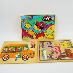 Lot of 3 Vintage Wooden Puzzles Fisher Price Etc